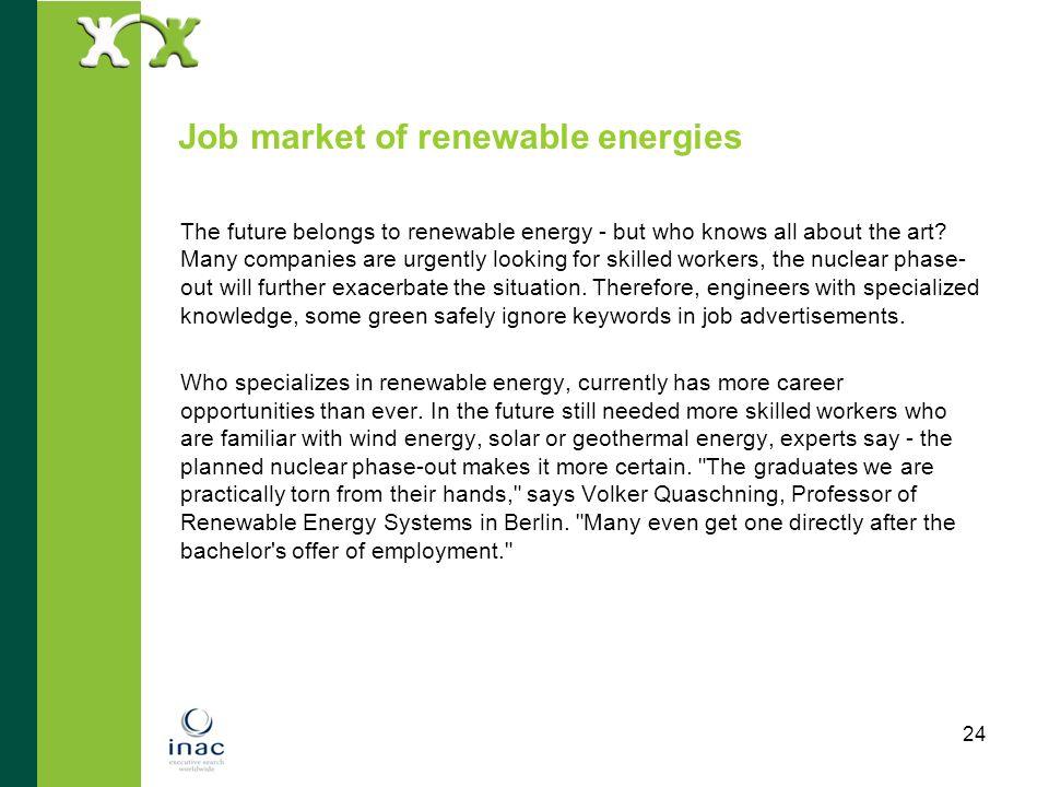 Job market of renewable energies