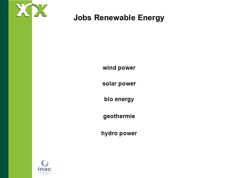 wind power solar power bio energy geothermie hydro power
