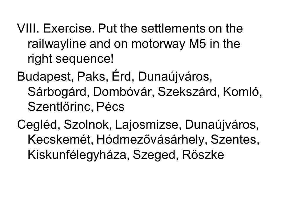 VIII. Exercise. Put the settlements on the railwayline and on motorway M5 in the right sequence!