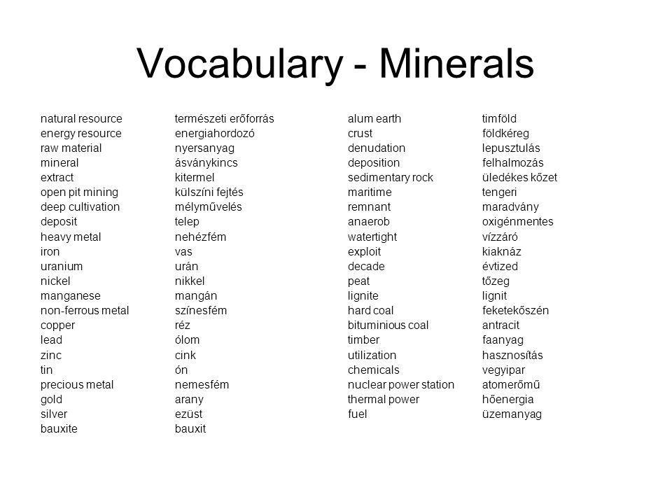 Vocabulary - Minerals natural resource természeti erőforrás