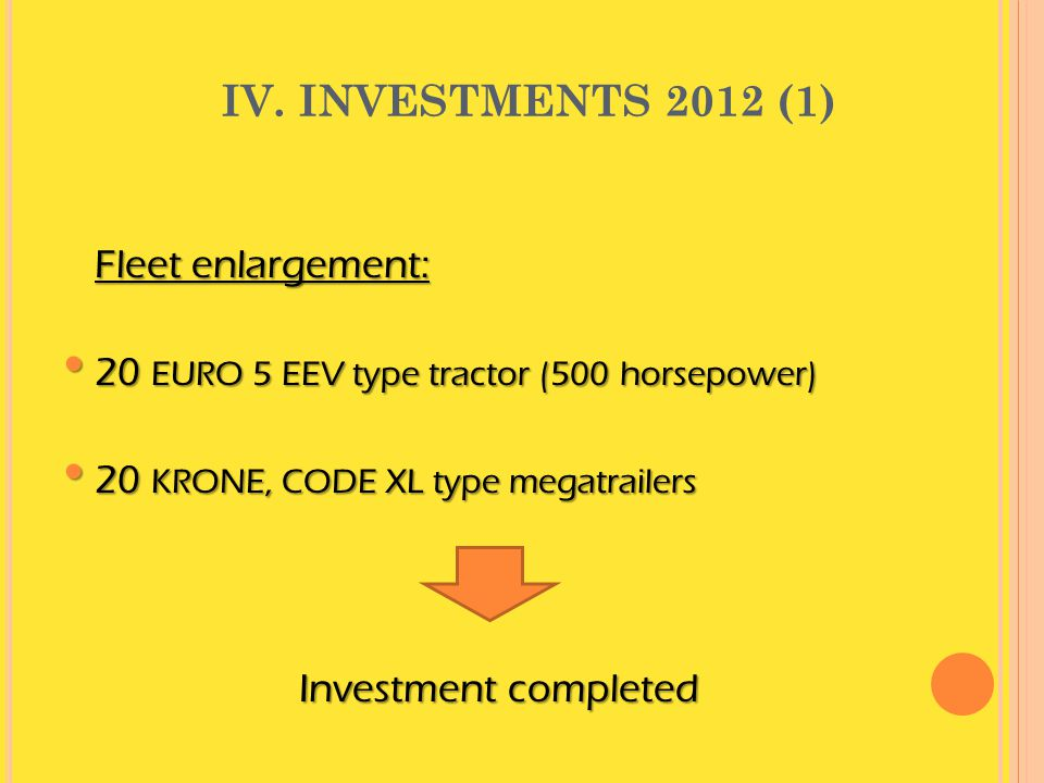 IV. INVESTMENTS 2012 (1) 20 EURO 5 EEV type tractor (500 horsepower)