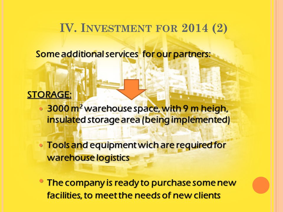IV. Investment for 2014 (2) Some additional services for our partners: