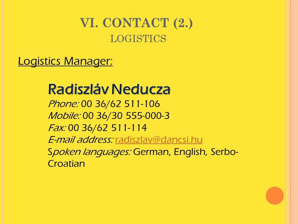 VI. CONTACT (2.) logistics