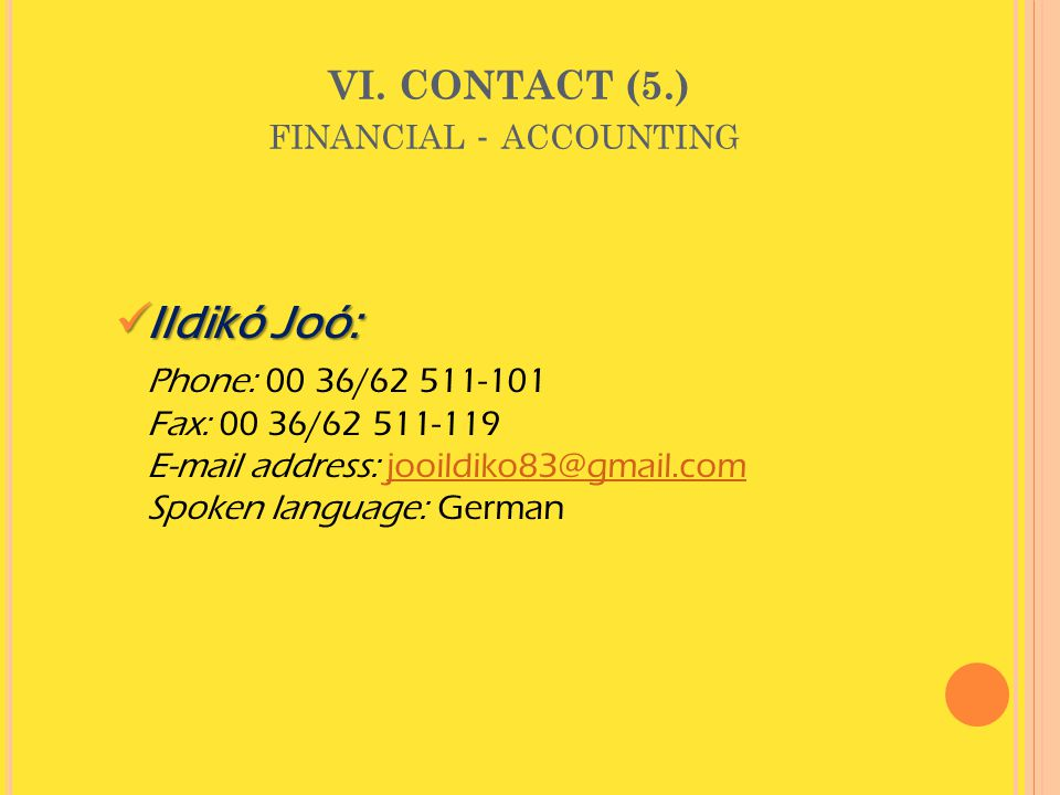 VI. CONTACT (5.) financial - accounting