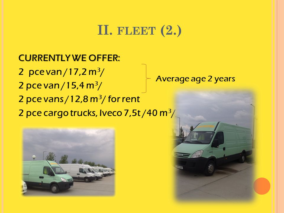 II. fleet (2.) CURRENTLY WE OFFER: 2 pce van /17,2 m3/