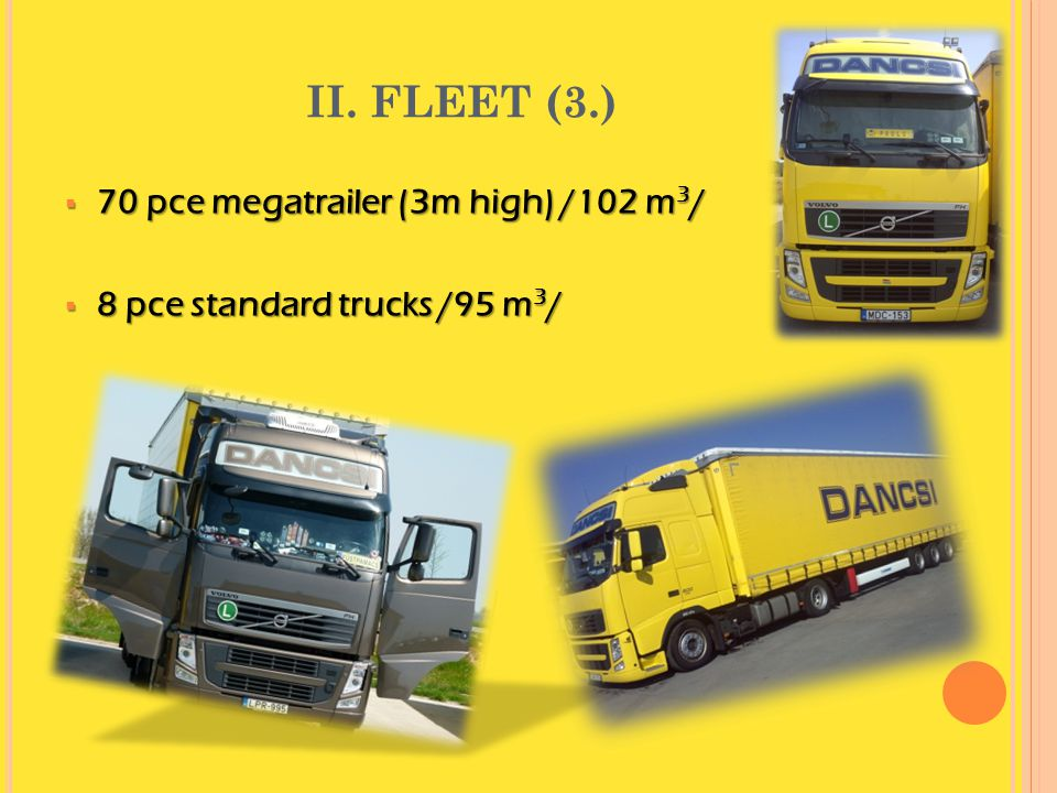 II. FLEET (3.) 70 pce megatrailer (3m high) /102 m3/