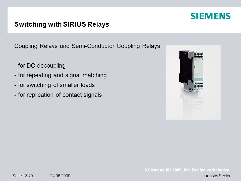 Switching with SIRIUS Relays