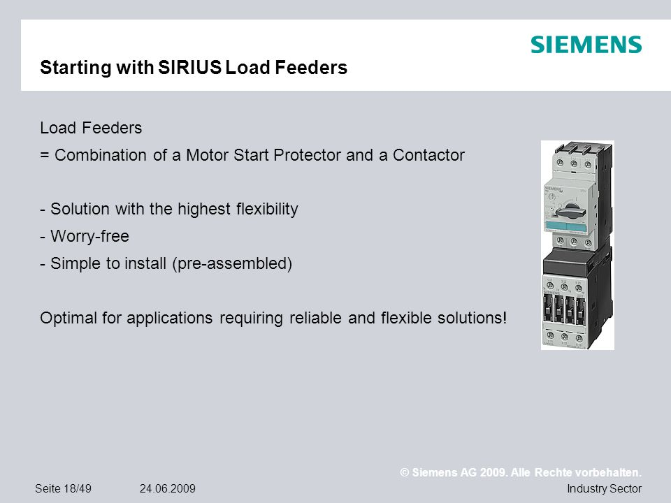 Starting with SIRIUS Load Feeders