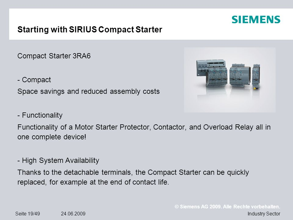Starting with SIRIUS Compact Starter