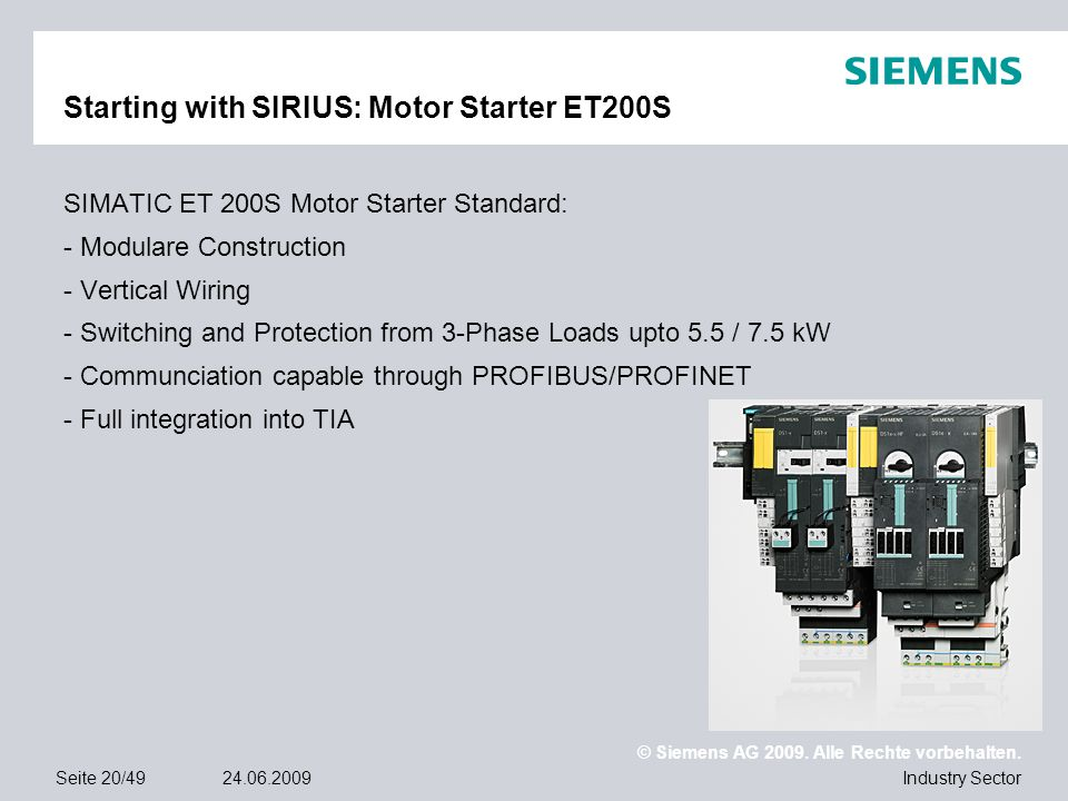 Starting with SIRIUS: Motor Starter ET200S