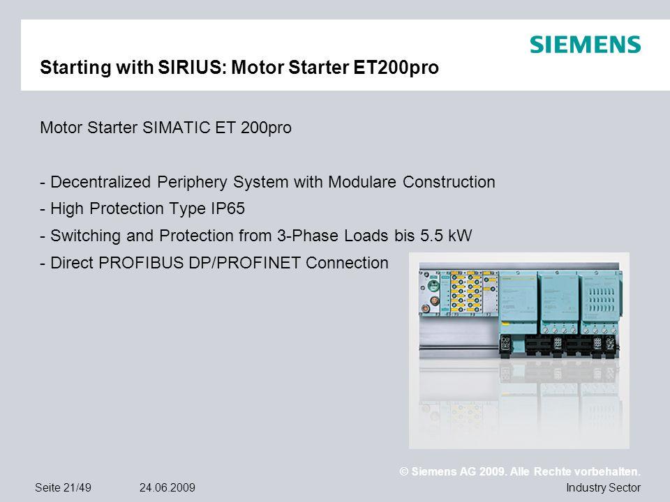 Starting with SIRIUS: Motor Starter ET200pro
