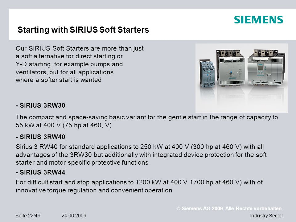 Starting with SIRIUS Soft Starters
