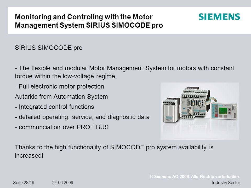 Monitoring and Controling with the Motor Management System SIRIUS SIMOCODE pro
