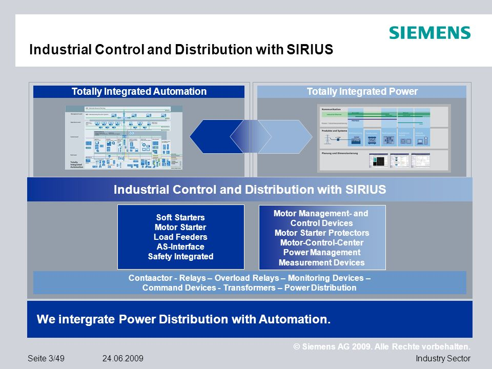 Industrial Control and Distribution with SIRIUS