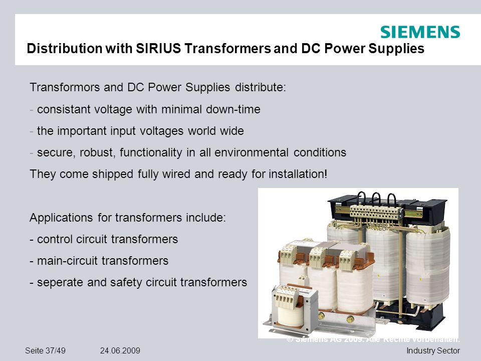 Distribution with SIRIUS Transformers and DC Power Supplies