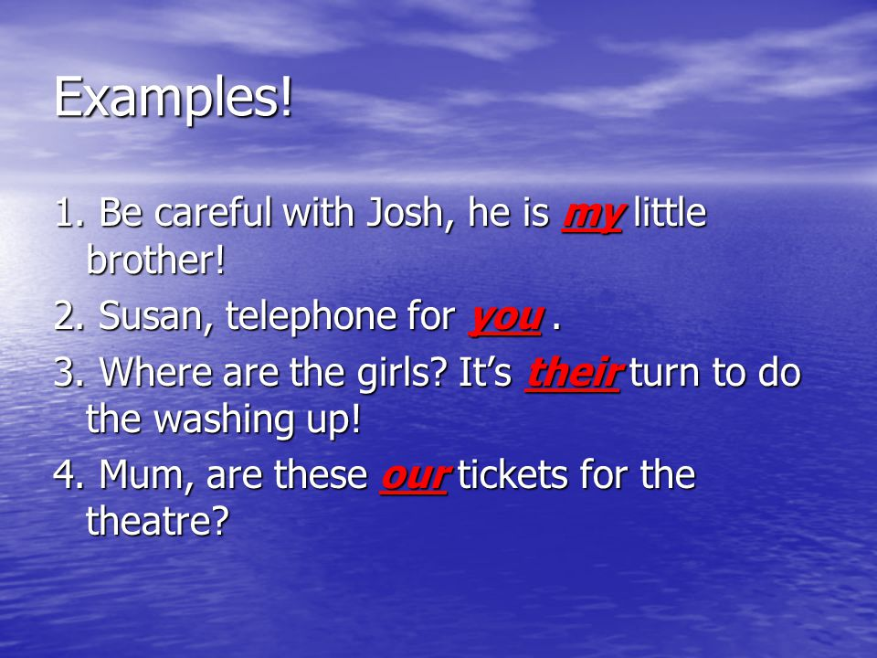 Examples! 1. Be careful with Josh, he is my little brother!
