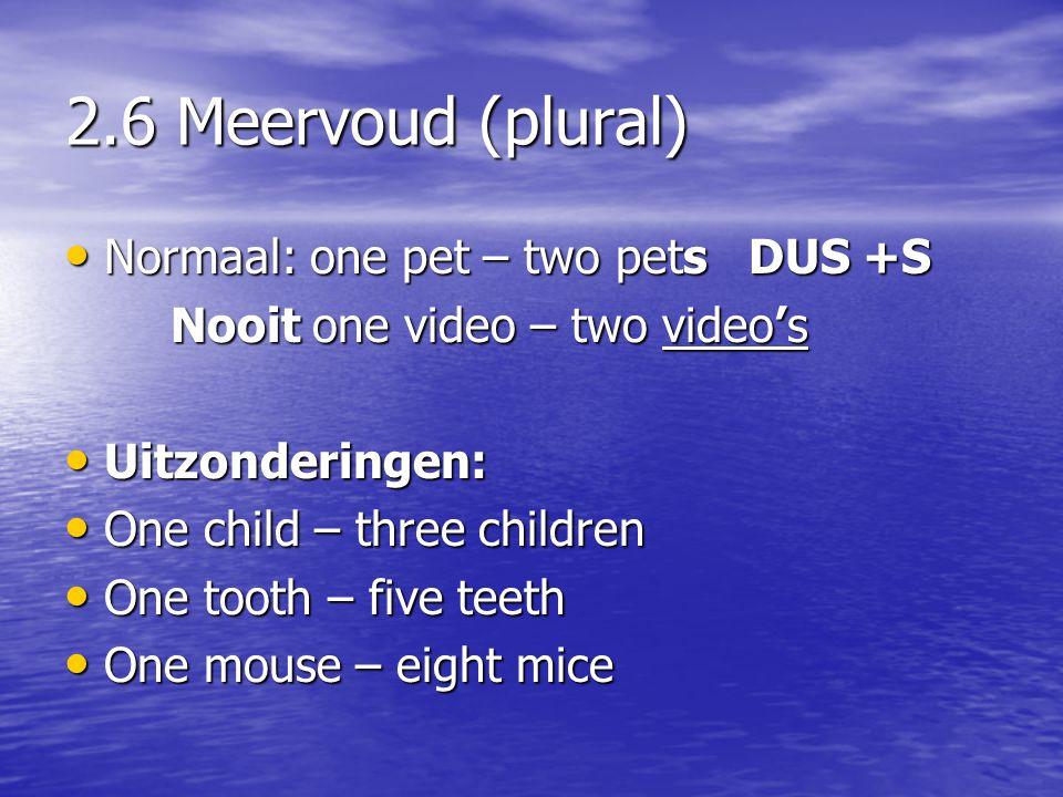 2.6 Meervoud (plural) Normaal: one pet – two pets DUS +S