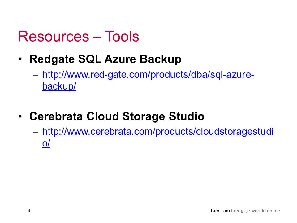 Resources – Tools Redgate SQL Azure Backup