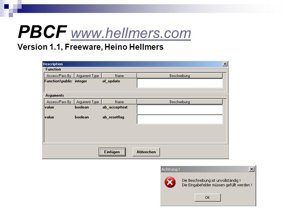 PBCF www.hellmers.com Version 1.1, Freeware, Heino Hellmers