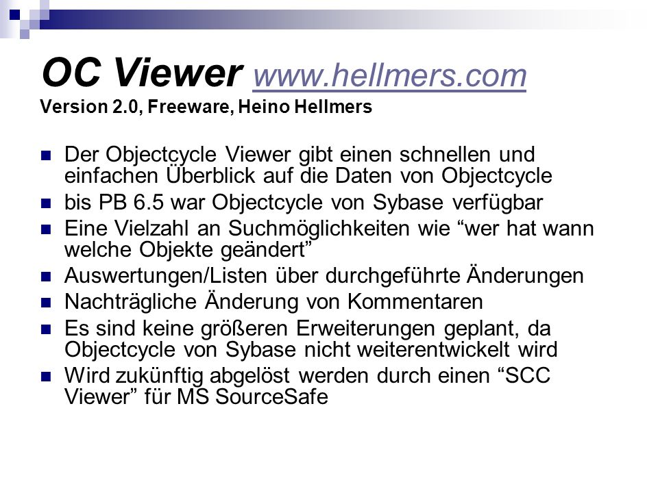 OC Viewer www.hellmers.com Version 2.0, Freeware, Heino Hellmers