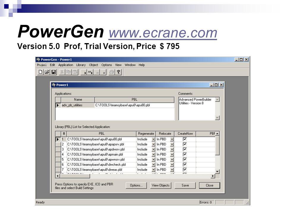 PowerGen www.ecrane.com Version 5.0 Prof, Trial Version, Price $ 795