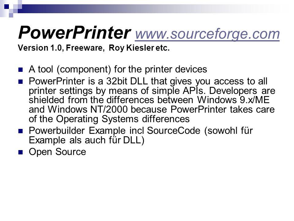 PowerPrinter www. sourceforge. com Version 1