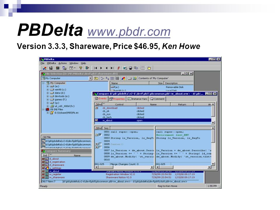 PBDelta www.pbdr.com Version 3.3.3, Shareware, Price $46.95, Ken Howe