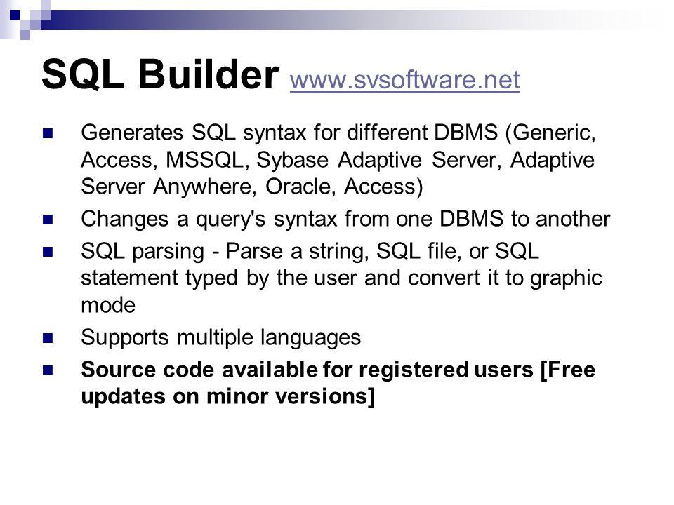 SQL Builder www.svsoftware.net