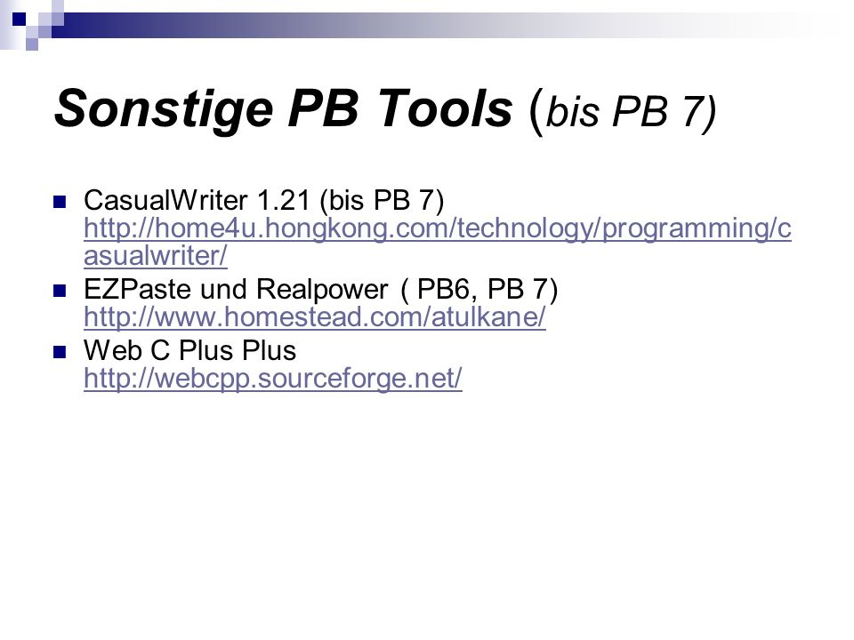 Sonstige PB Tools (bis PB 7)