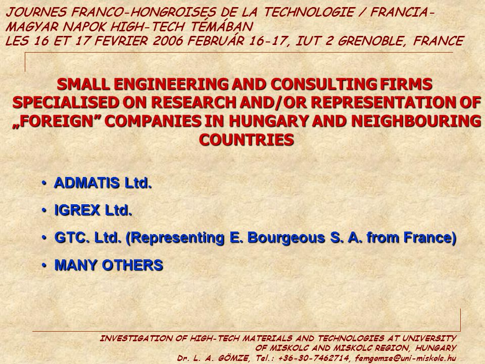 SMALL ENGINEERING AND CONSULTING FIRMS