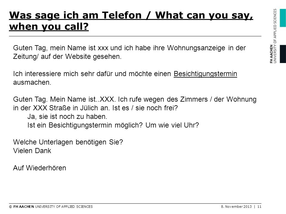 Was sage ich am Telefon / What can you say, when you call