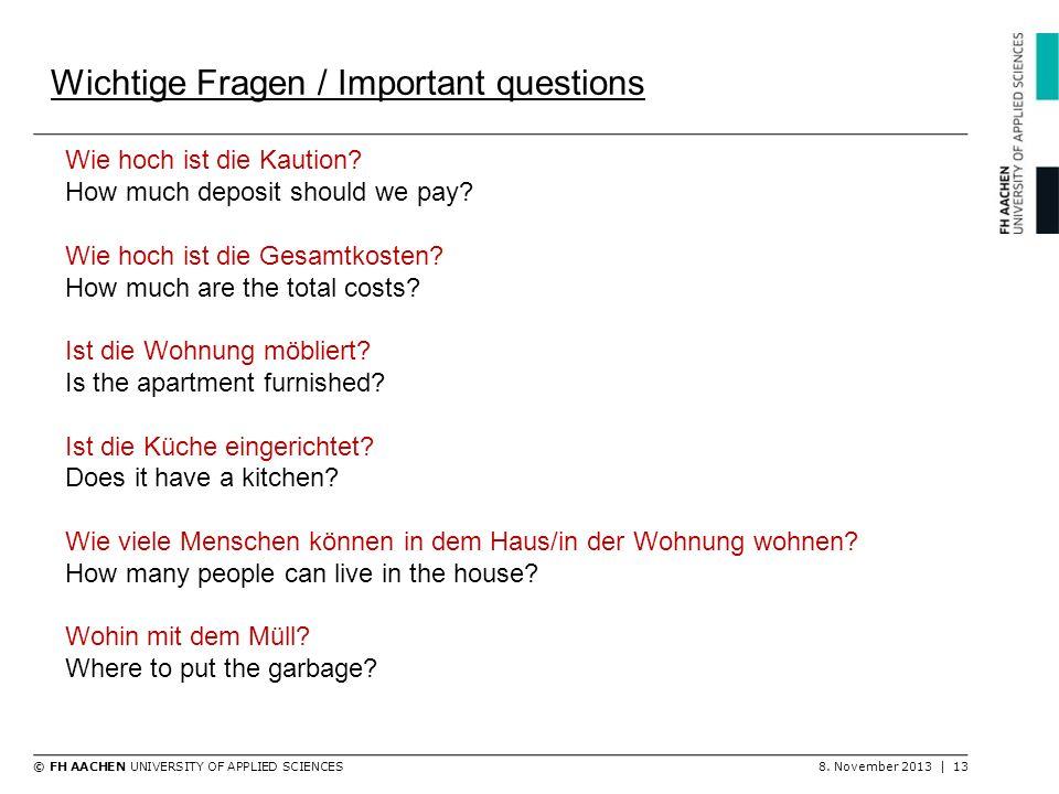 Wichtige Fragen / Important questions