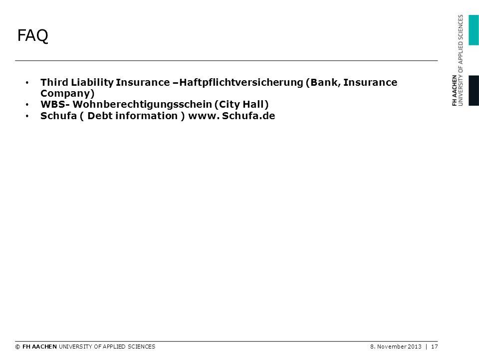 FAQ Third Liability Insurance –Haftpflichtversicherung (Bank, Insurance Company) WBS- Wohnberechtigungsschein (City Hall)
