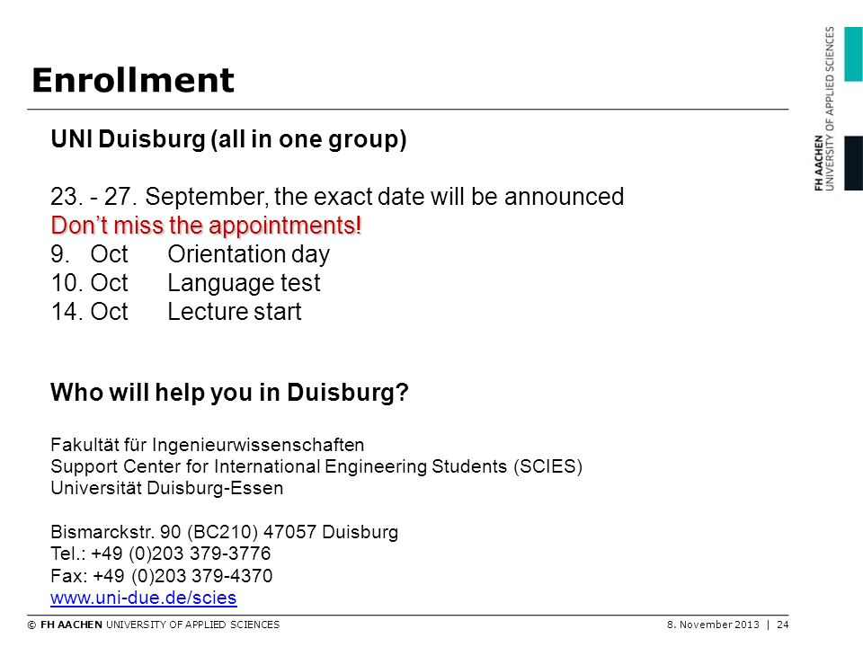 Enrollment UNI Duisburg (all in one group)
