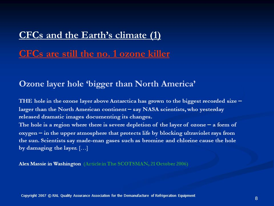 CFCs and the Earth's climate (1) CFCs are still the no. 1 ozone killer