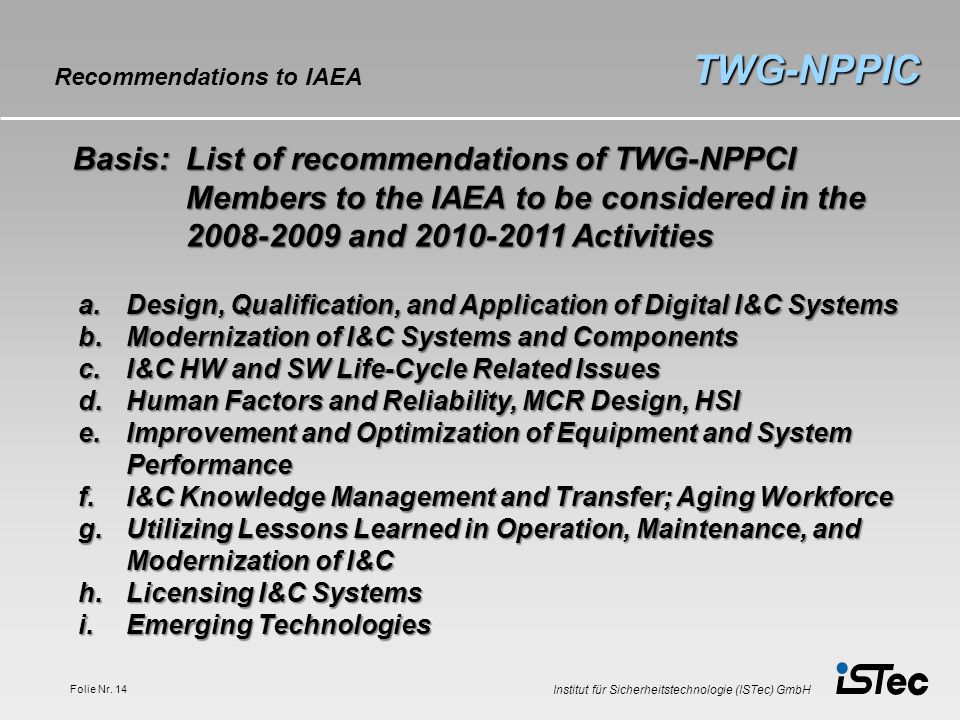 TWG-NPPIC Recommendations to IAEA.