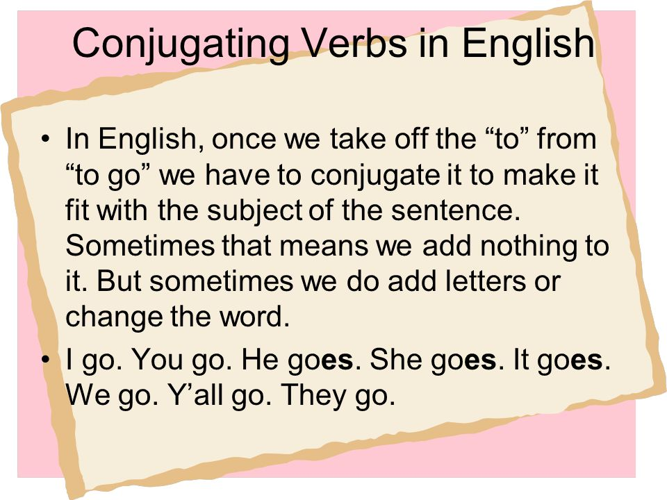 Conjugating Verbs in English
