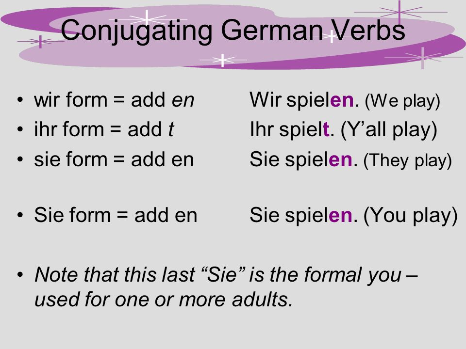 Conjugating German Verbs