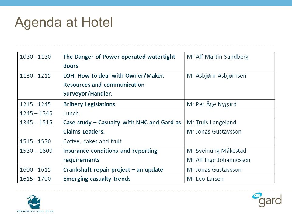 Agenda at Hotel 1030 - 1130. The Danger of Power operated watertight doors. Mr Alf Martin Sandberg.