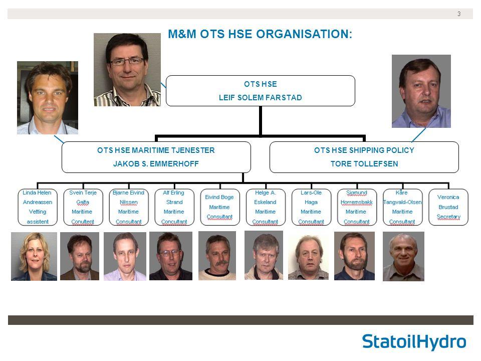 M&M OTS HSE ORGANISATION: