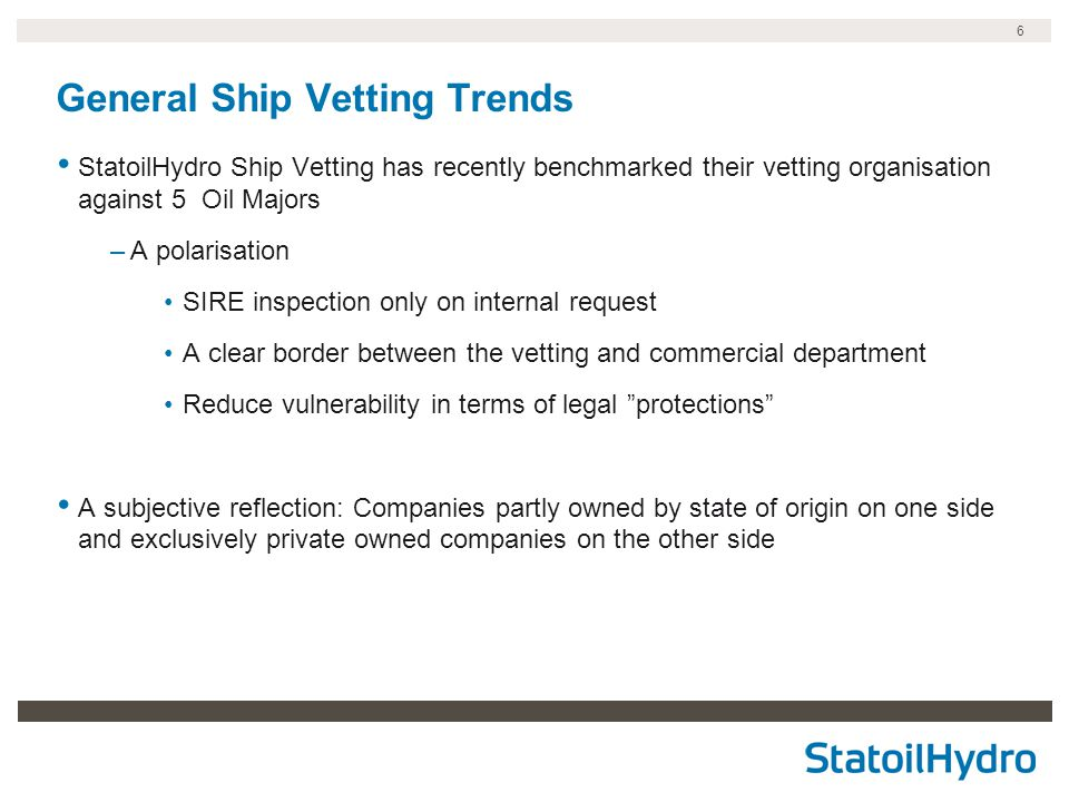 General Ship Vetting Trends