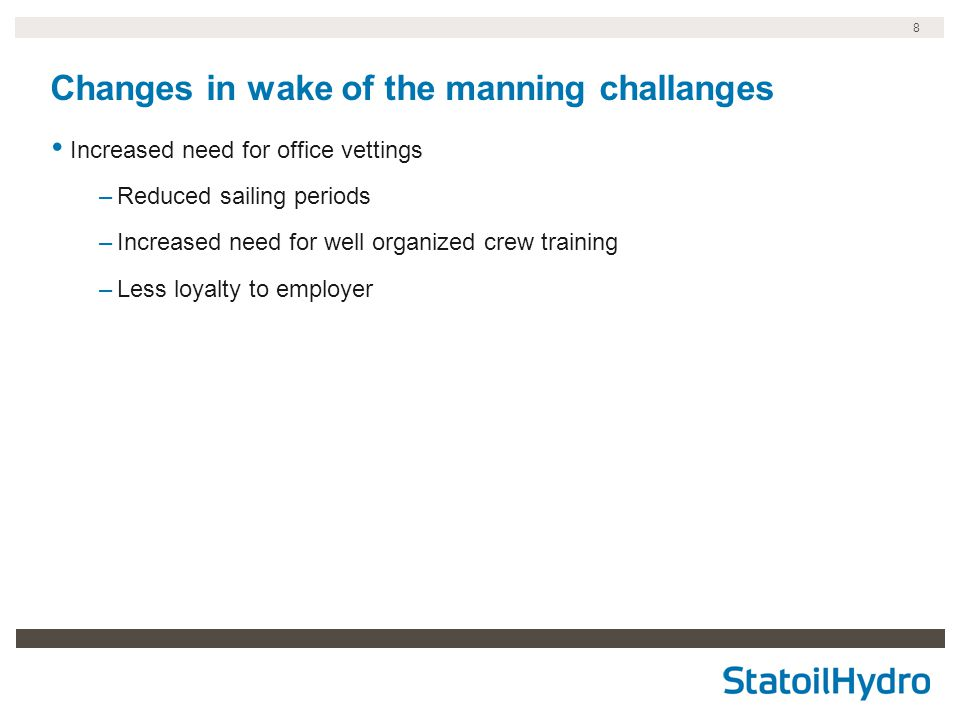 Changes in wake of the manning challanges