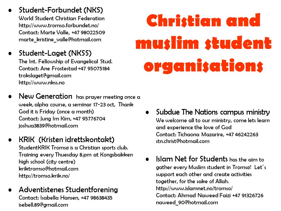 Christian and muslim student organisations