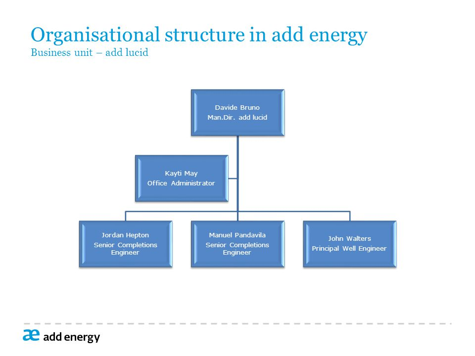 Organisational structure in add energy Business unit – add lucid