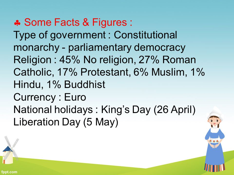 Some Facts & Figures : Type of government : Constitutional monarchy - parliamentary democracy.