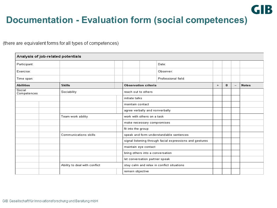 Documentation - Evaluation form (social competences)