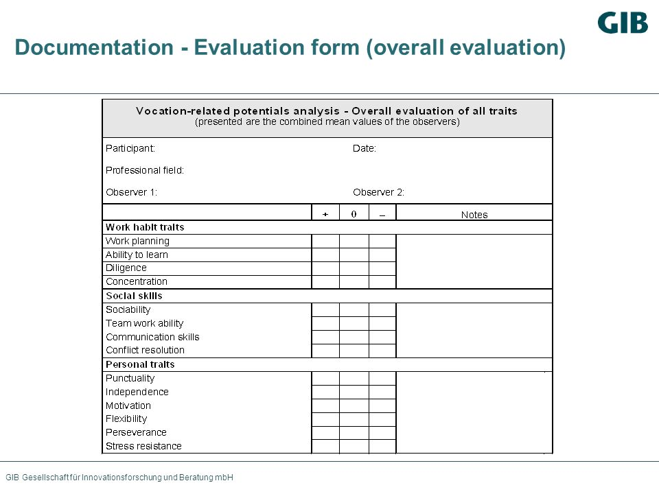 Documentation - Evaluation form (overall evaluation)