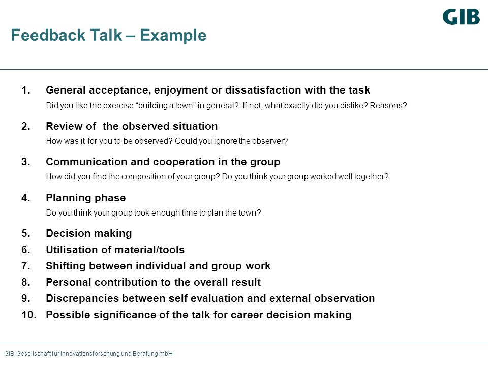 Feedback Talk – Example