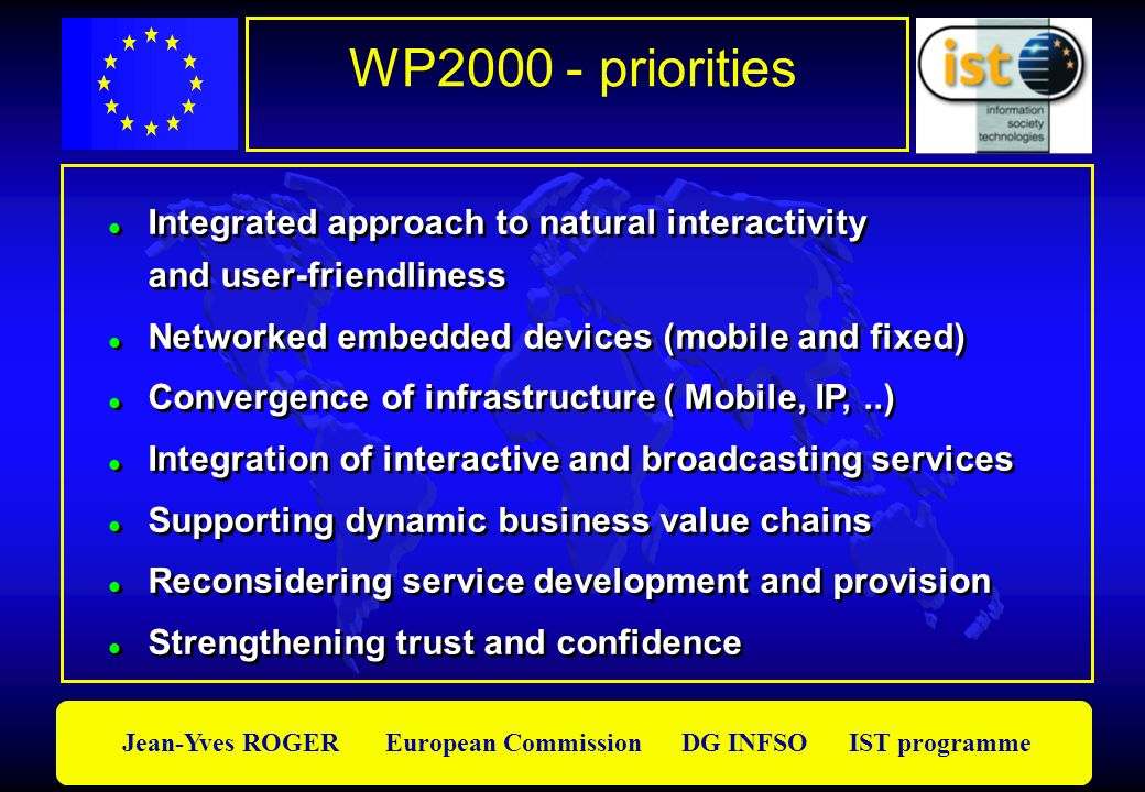 WP2000 - priorities Integrated approach to natural interactivity and user-friendliness. Networked embedded devices (mobile and fixed)