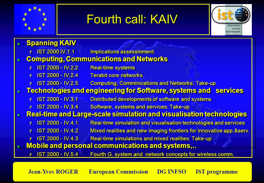 Fourth call: KAIV Spanning KAIV Computing, Communications and Networks